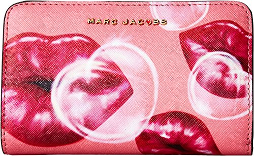 Marc Jacobs Women's Printed Lips Saffiano Compact Wallet Tea Rose Multi One Size by Marc Jacobs