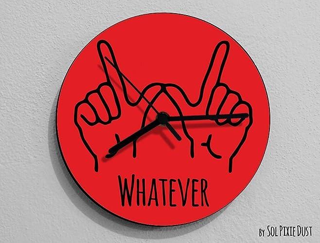 Amazon Whatever Hand Symbol Round Red Wall Clock Handmade