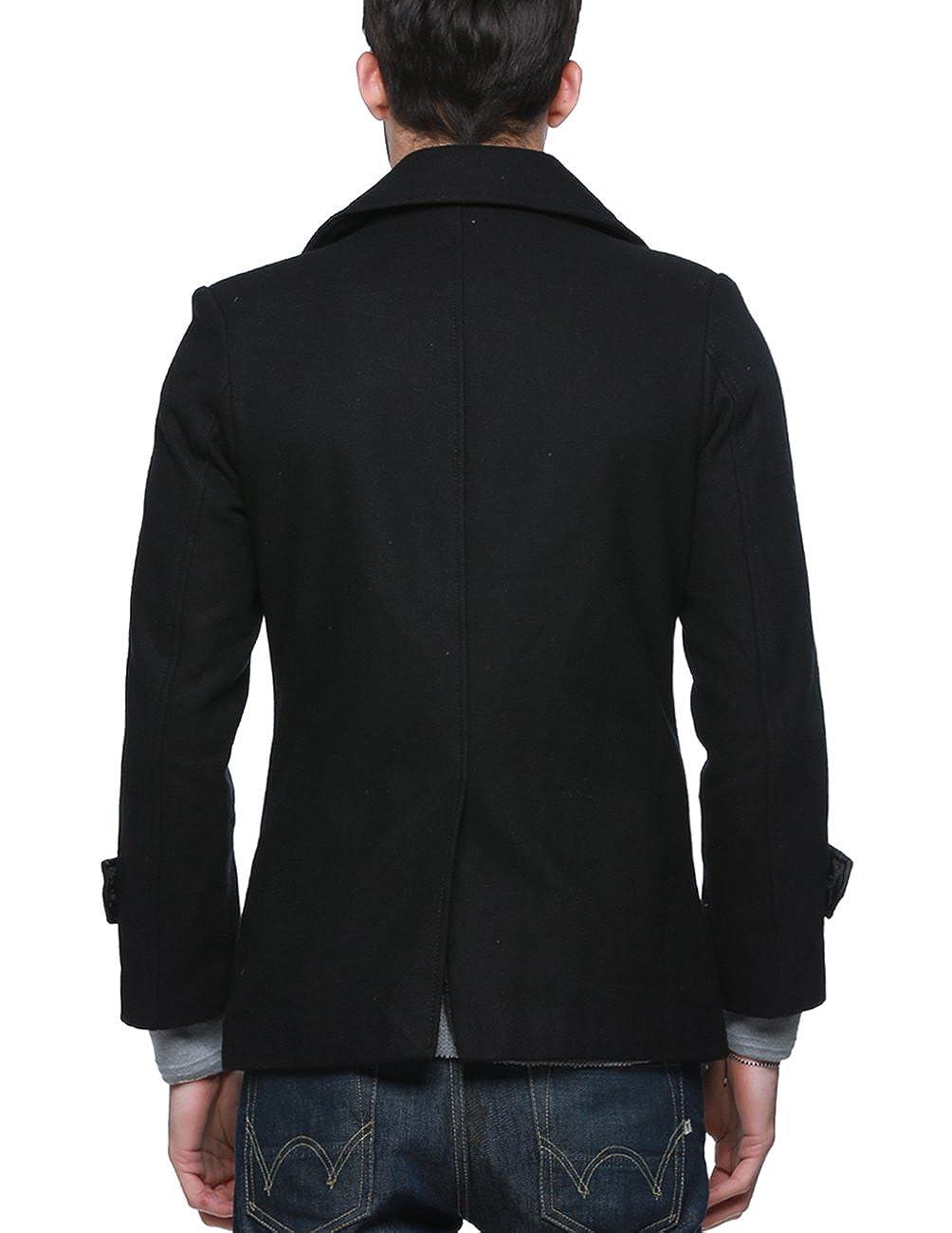 Match Manteau Laine Hiver Mélange Double Boutonnage pour Homme #010 010 Noir (Black)