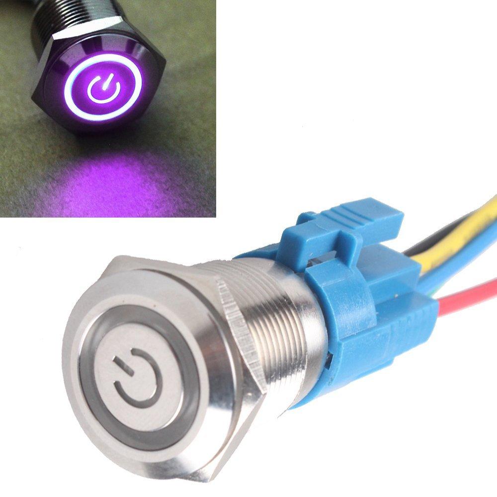 Mintice™ Interrupteur Commutateur Bouton Poussoir en Métal Lumière Eclairage Rouge Oeil de l'Ange 19mm 12V 5A pour Voiture Moto
