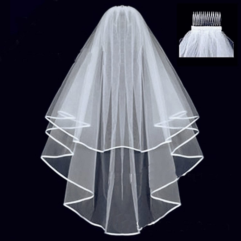 DreHouse Women\'s White / Ivory 2T Wedding Veil Elbow Length Applique ...