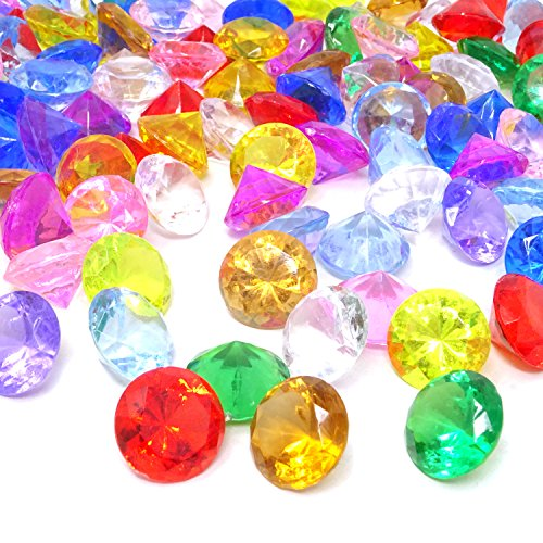 20mm Gem - HONBAY 100PCS 20mm Acrylic Faux Diamond Crystal Treasure Gems for Table Scatters, Vase Fillers, Event, Wedding, Bridal Shower, Birthday Decoration Favor, Arts & Crafts and More (Assorted Color)
