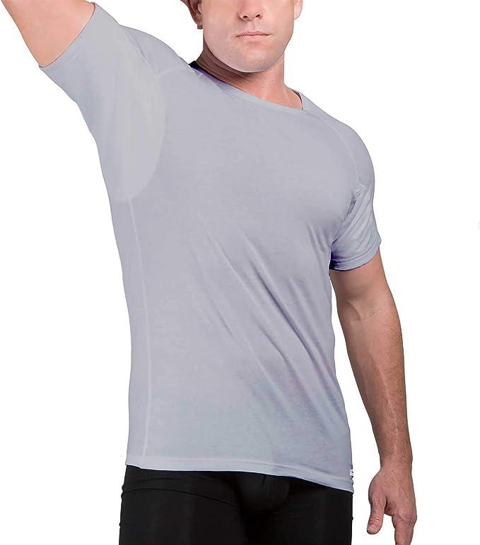Camiseta Interior de Hombre a Prueba de Sudor Eji, Cuello Redondo, Plata antiolor, algodón, Almohadillas para el Sudor: Amazon.es: Ropa y accesorios
