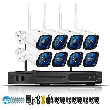 LLCOFFGA HD 1080P WiFi NVR Grabador Sistemas de cámaras de vigilancia con 2TB HDD Seguridad Impermeable Micrófono Incorporado Visión Nocturna Alertas de ...