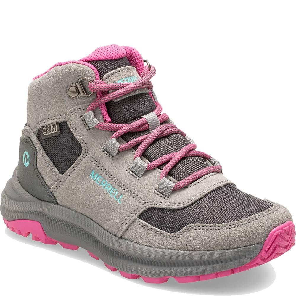 Merrell Girls' Ontario 85 WTRPF Hiking Boot, Grey/Pink, 03.0 M US Little Kid by Merrell