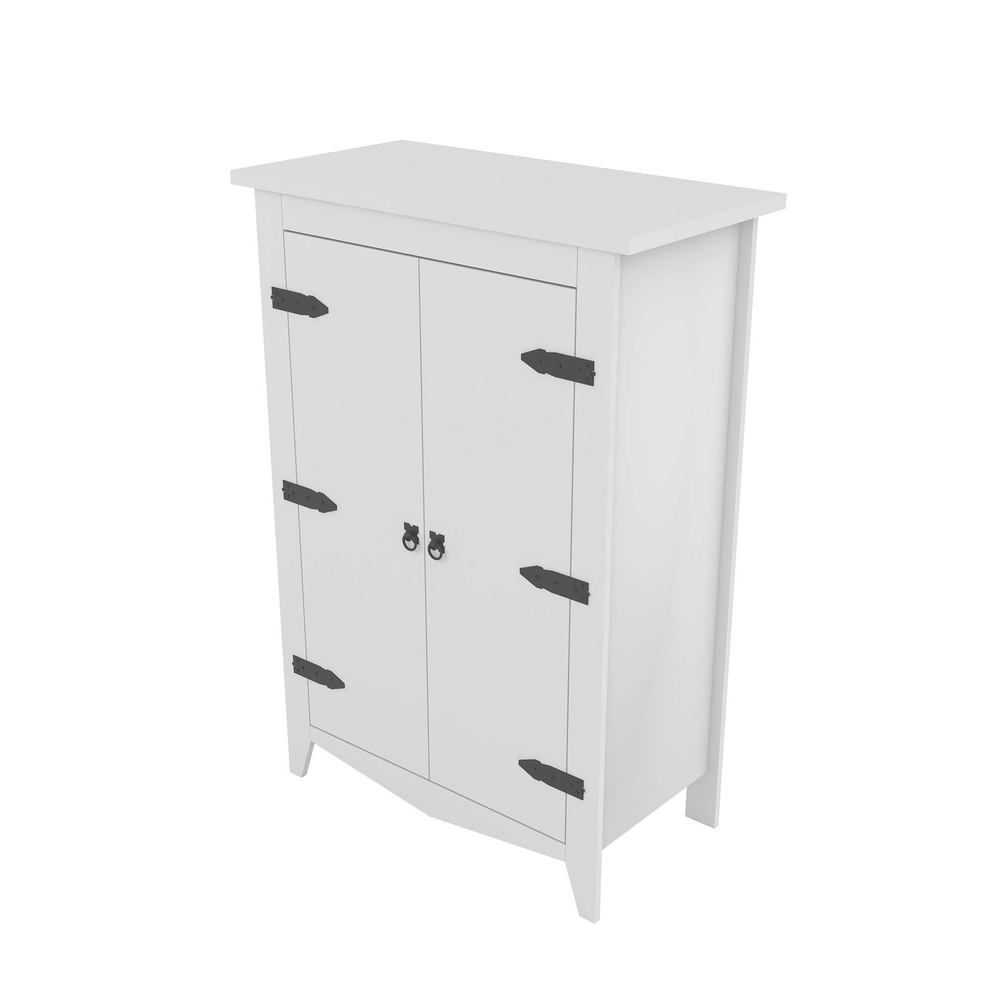 Armoire Storage Cabinet Classic Style Vintage Design Industrial (White)