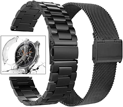Henoda Compatible Galaxy Watch 46mm Bands, 22mm Stainless Steel Metel Band with Screen Protector Case Accessory Replacement Strap for Samsung Galaxy ...