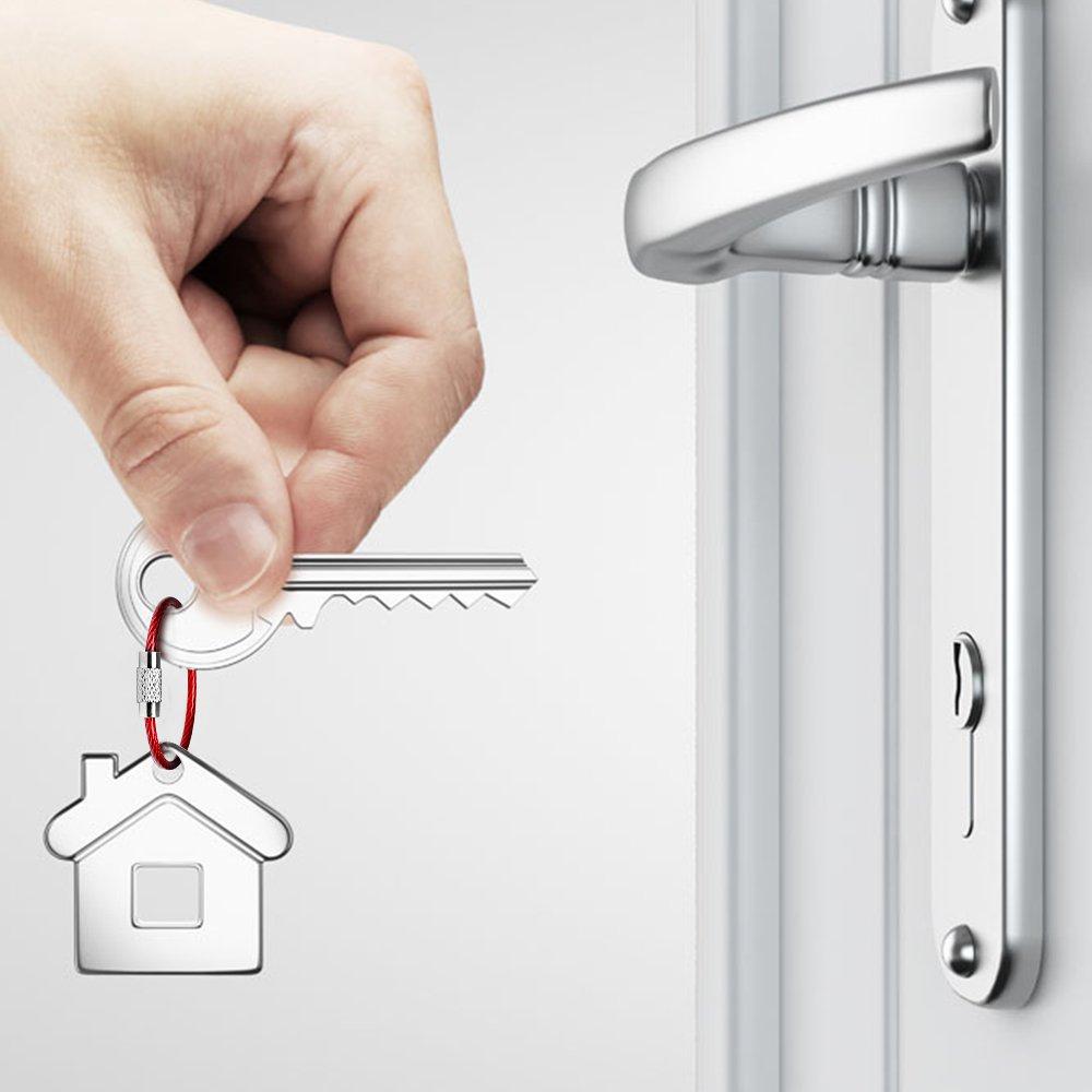 SENHAI 15cm et 22cm Câbles 2mm de Boucle Anneaux avec Joints en Acier Inoxydable pour Pendre Étiquette de Bagage Carte Clef SH-Wire/_Keychain/_25 Lot de 25 Porte-clés en Fil