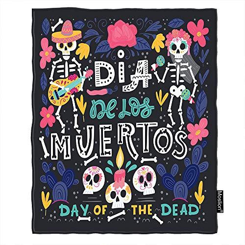 Moslion Skull Throw Blanket Dia De Los Muertos Mexico Halloween Music Guitar Cactus Flower Throw Blanket Flannel Home Decorative Soft Cozy Blankets 40x50 Inch for Baby Kids Pet]()