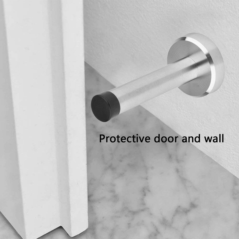 Bathroom Kitchen Wall Door Stopper Baby Safe Door stoppers Stainless Steel Door Stop with Rubber Tip,3.74in for Bedroom Office 4 Pack