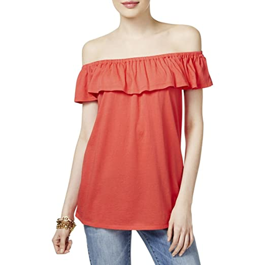 955ae893d6b32 Image Unavailable. Image not available for. Color  Michael Michael Kors  Womens Modal Blend Off-The-Shoulder Peasant Top ...