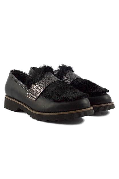 SHLEP Mocasines de Mujer Dama con Pelo Tacon Modernos DCE Moda: Amazon.es: Zapatos y complementos