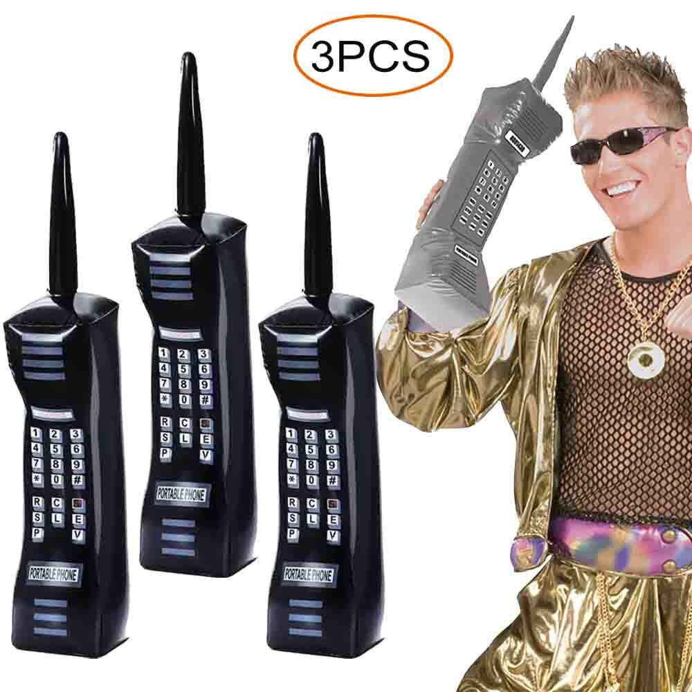 3PCS Inflatable Mobile Phone - 80's 90's Party Decorations Supplies Retor Props Fancy Dress Accessory (30 Inches)