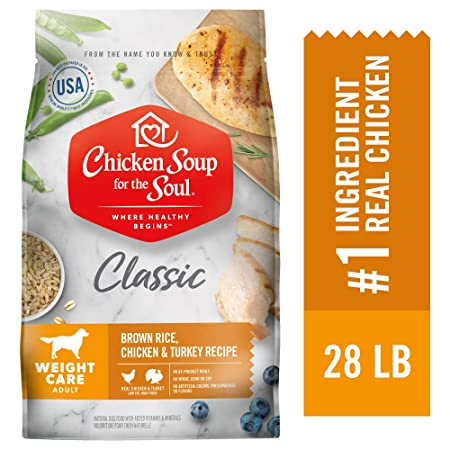 Chicken Soup for the Soul Weight Care Dog Food- Brown Rice, Chicken Turkey Recipe, Dry Dog Food
