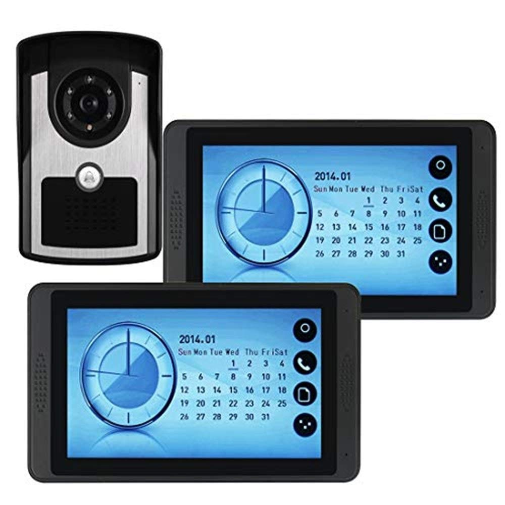 Video doorbell 7 Inch Video Door Phone Doorbell Entry Intercom System Kit with 1-Camera 2-Monitor TFT LCD Screen Unlock IR Night Vision Rainproof Home Security Touch Button