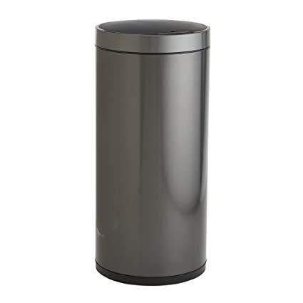 EKO 92855-1 Stainless Steel Round Hands Free Sensor Trash Can | 50 Liter Automatic