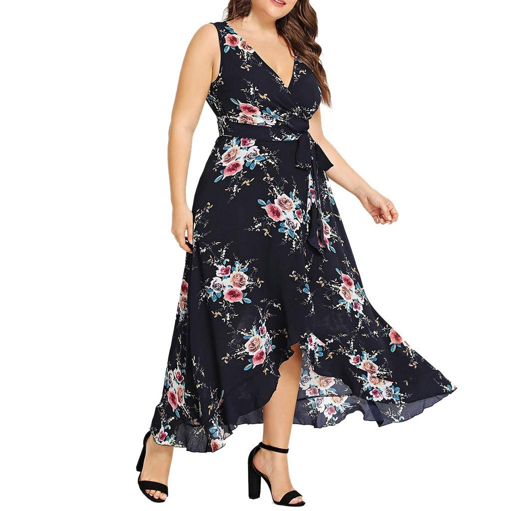 Plus Size Women Casual Flower Maxi Dress,Ladies Sleeveless Print Loose Belt Party Smock Skater Tea Dresses Sunmoot by Sunmoot Clearance Sale