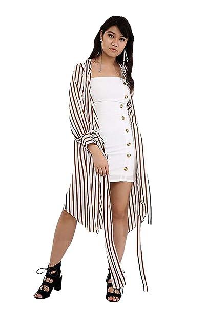 Verso Fashion Maxi Kimono de Rayas Blancas con cinturón ...