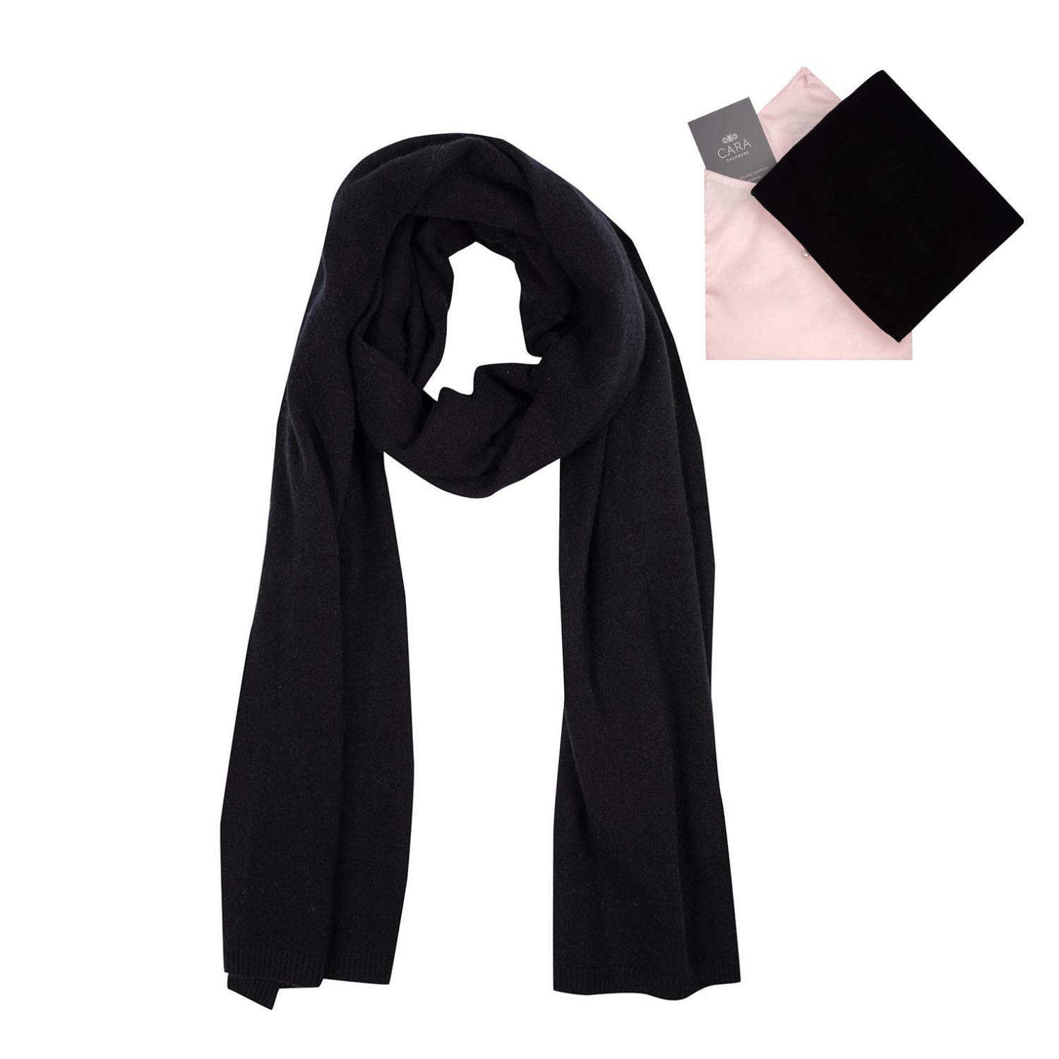 100% Cashmere Wrap Scarf Shawl for Women, Pure Luxury Knit, Ultra Soft, Lightweight and Warm includes Beautiful Silk Gift Bag (Black) by Cara Cashmere