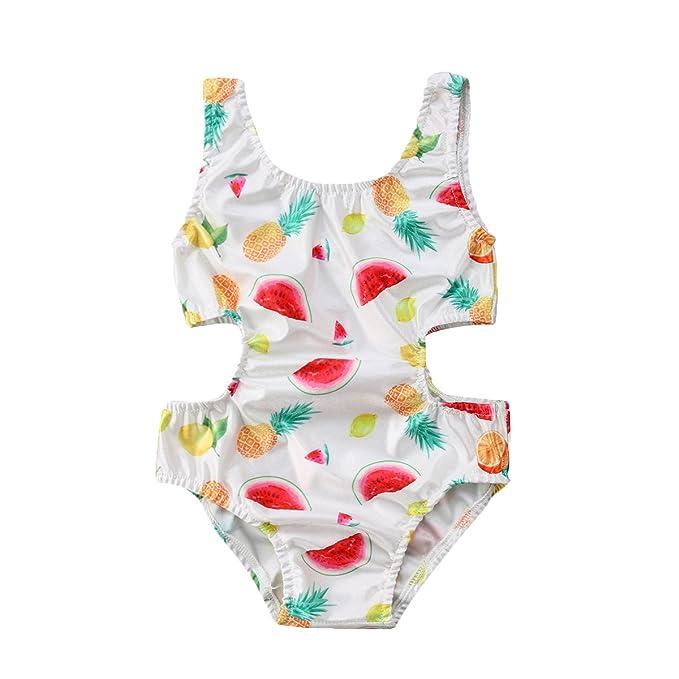 Amazon.com: Impresión de frutas, bebé niña overol sin mangas ...