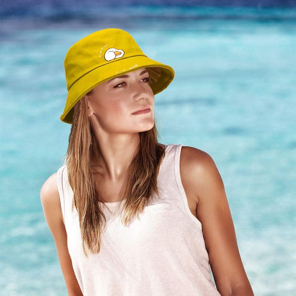yejifs Unisex Mode bestickt Eimerhut Eimerhut faltbar Baumwolle Sonnenhut Sommer kurze Krempe f/ür M/änner Frauen Teenager