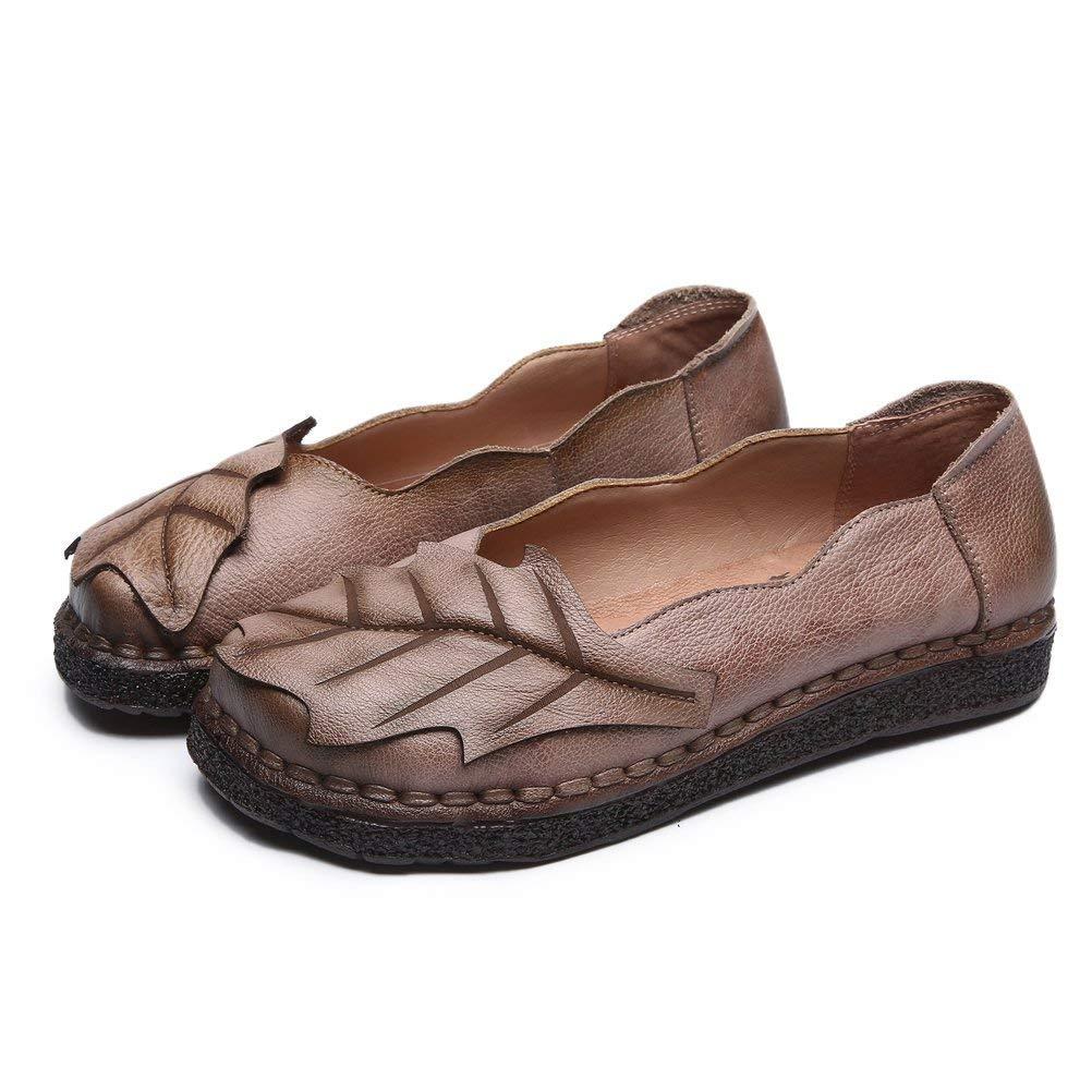 Qiusa Qiusa Qiusa Damen Frühjahr Herbst handgefertigte Loafer Flache Stiefel Mokassins Schuhe (Farbe   Helles Lila Größe   2.5 3 UK) 5c077b