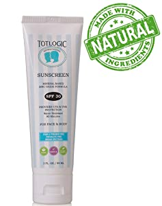 TotLogic Natural Mineral Sunscreen SPF 30, 3 oz | Biodegradable Reef Safe Zinc Oxide Organic Sunblock For Kids | Hypoallergenic, Water Resistant Non Nano Formula