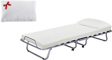 Cama plegable Luxory Farmarelax de 80 x 190 cm, 13 láminas de madera con colchón de 7 cm de altura + almohada de espuma viscoelástica, ortopédica, ...