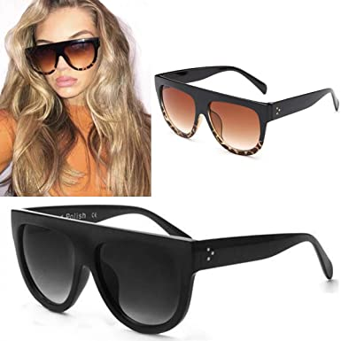 b1ea682046 Image Unavailable. Image not available for. Colour  GFmaterial Flat Top  Shadow Sunglasses Women s Tortoise Shield Luxury Oversized Celebrity Style ( Black ...