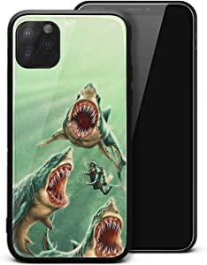 Shark Seabed Lorenzo Burst Green iPhone 11 Case, Tempered Glass Back Cover + Soft Silicone Bumper Protection Case