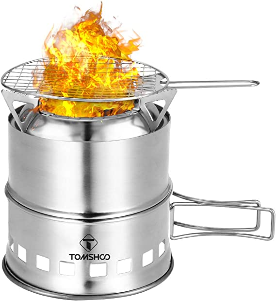 TOMSHOO Portable Wood Burning Stove Alcohol Stainless Steel Picnic BBQ UK N0O1