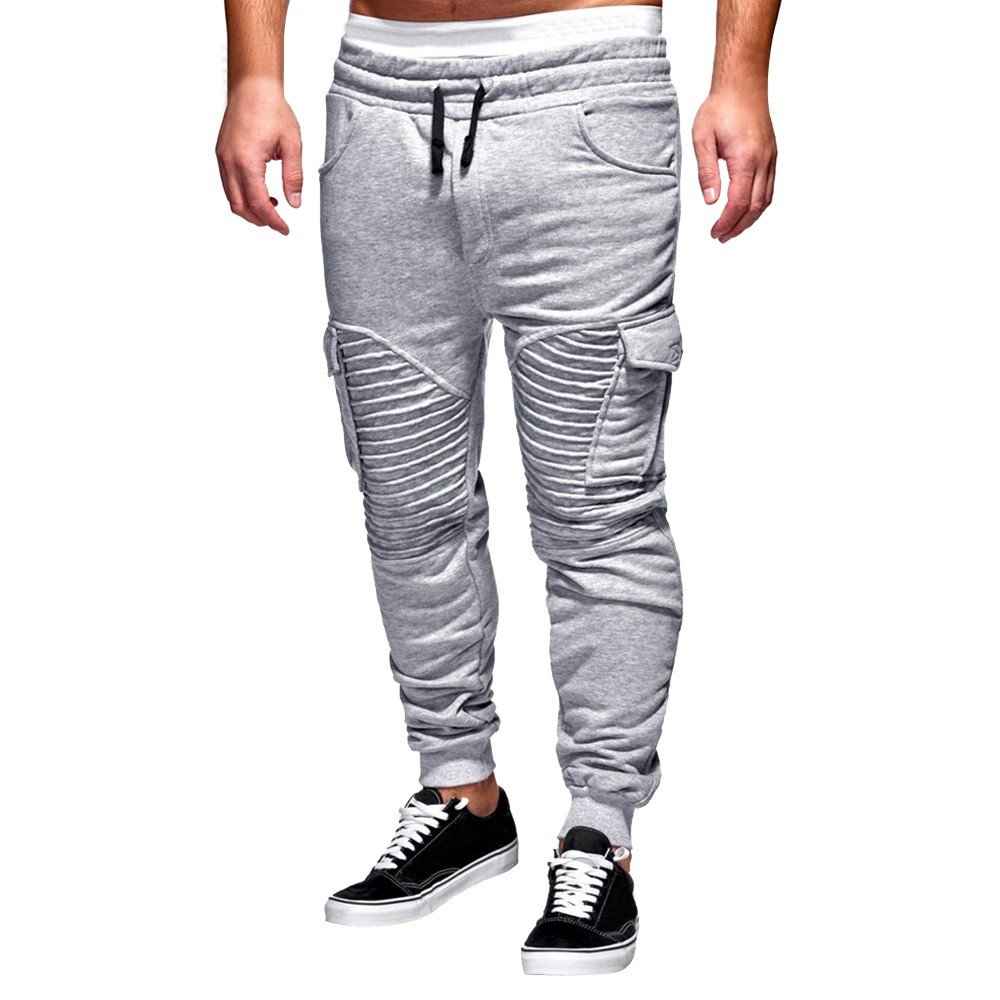 Spbamboo Mens Pants Slacks Casual Elastic Joggers Sport Baggy Pockets Trousers by Spbamboo