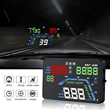 "YICOTA Car HUD GPS Head Up Display 5.5 ""Colorido LED Dashboard Proyector de velocidad"