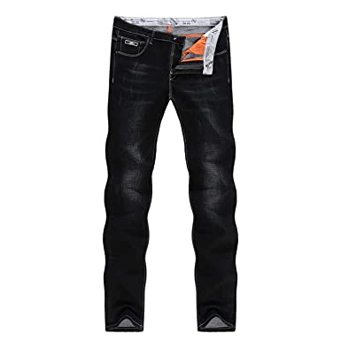 b9154c3c29e Image Unavailable. Image not available for. Color  Jeans for Men Black  Winter Stretch Business Casual Slim Fit Straight ...