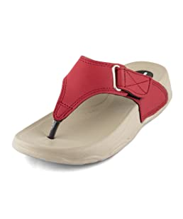 WELCOME Women's Leather Slippers-8 UK (41 EU) (10 US) (HF-13 (8) RED)