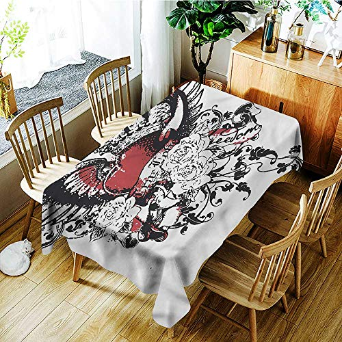 Angoueleven Modern,Tablecovers Rectangular Heart Crown Wings Tattoo 70