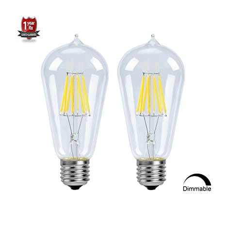 Vintage Edison Bombilla LED ST58 (ST64) filamento de intensidad regulable luz Bombilla, 8