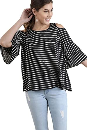 Umgee Women s Striped Cold Shoulder Tunic with Tiered Elbow Length Bell  Sleeves (Small 046fafe58