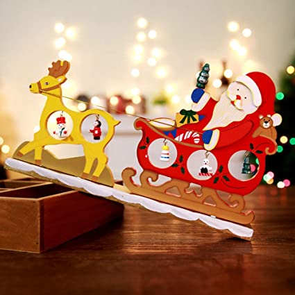 iusun christmas ornaments wooden deer cart table decoration gifts for home office party decoration - Wooden Deer Christmas Decorations