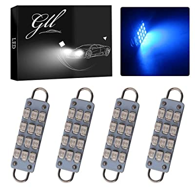 "GrandviewTM 4 X 44mm(1.73"") 12-SMD 1210 3528 Chip Rigid Loop Festoon LED Bulbs for Car Interior Light Dome Map Light Door Courtesy Lights 211-2 212-2 561 562 567 (Blue): Automotive"