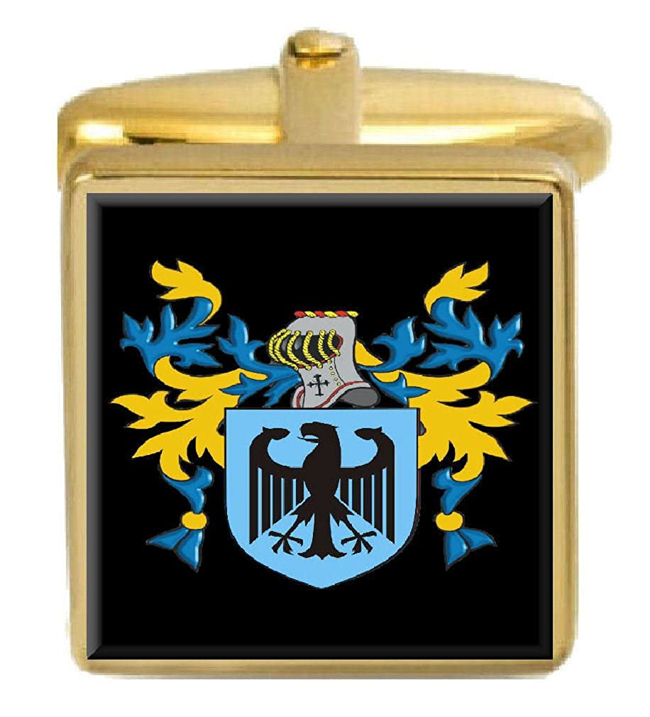 Select Gifts Benneys England Family Crest Surname Coat Of Arms Gold Cufflinks Engraved Box