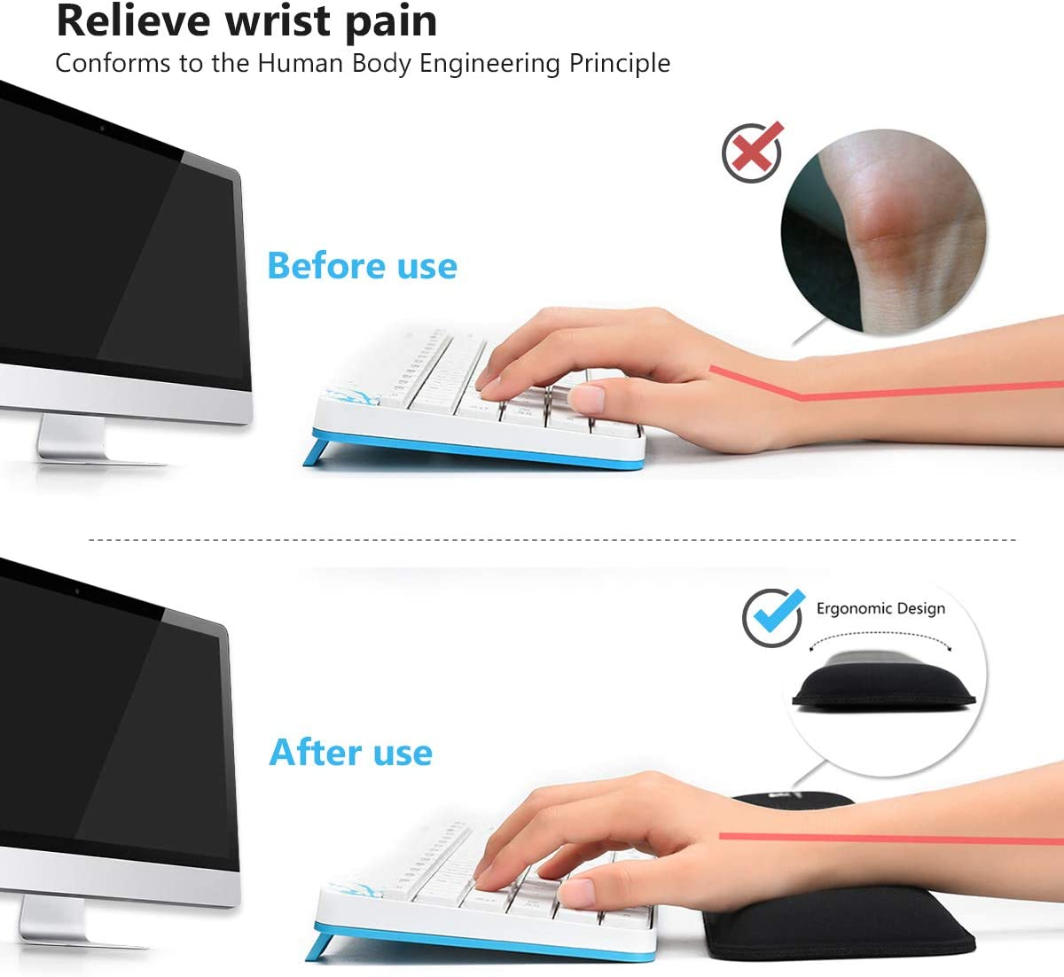 Keyboard Wrist Rest Mouse Pad Wrist Support for Computer Desktop//Laptop//Notebook Memory Foam Keyboard Pad Ergonomic Hand Rest Wrist Cushion for Home Office Gaming Easy Typing Pain Relief-Black