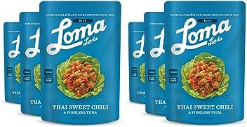 Loma Linda Blue - Vegan Meal Solution - Thai Sweet Chili Fishless Tuna (3 oz.) (Pack of 6) - Non-GMO, Gluten Free
