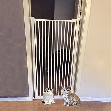 SUBBYE Puerta de Seguridad para Niños Puerta de Seguridad para Bebés Extra Alta, Puerta de Hierro para Perros Y Gatos para Entrada de Escalera, Montaje a Presión, Altura 100cm, Blanco: Amazon.es: Hogar