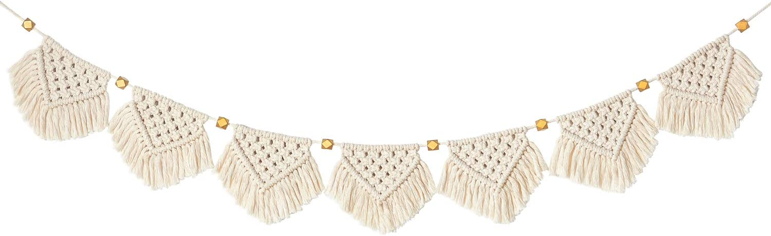 "Mkono Macrame Woven Wall Hanging Fringe Garland Banner Bohemian Wall Decor Woven Home Decoration for Apartment Bedroom Living Room Nursery, 5"" W x 40"" L"