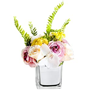 Fresh home ,Artificial Flowers with Vase,Flower Arrangements, babysbreath Rose with Silver Glass Vase, for Home Decor, Fake Flower in vase