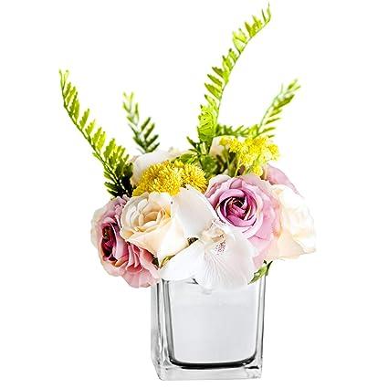 225 & Fresh home Artificial Flowers with VaseFlower Arrangements babysbreath Rose with Silver Glass Vase for Home Decor Fake Flower in vase