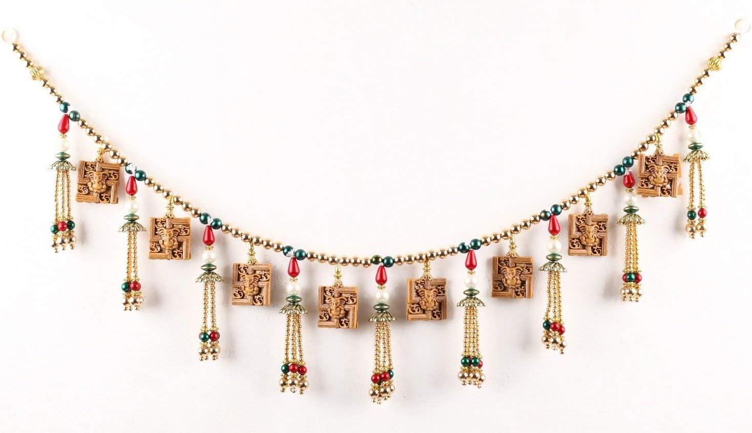 Itiha Multicolour Two Sided Ganesha,Hindu Swastika with Om Door Hanging Toran / Window Valance Diwali Gift Door Valance (3 feet)