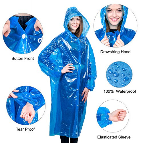 Extra Thick Disposable Emergency Rain Ponchos ~ Premium Quality, Lightweight, Waterproof & Tear Resistant ~ For Hiking, Tours, Sightseeing, Theme Parks, Festivals & More by KeepDry! by KeepDry! (Image #2)