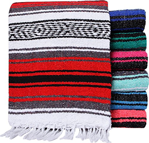 El Paso Designs Genuine Mexican Falsa Blanket - Yoga Studio Blanket, Colorful, Soft Woven Serape Imported from Mexico (Random Color)